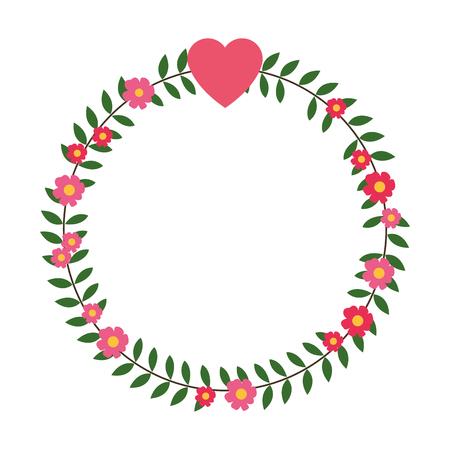 plat couronne de fleurs de conception avec un petit coeur sur le dessus illustration vectorielle