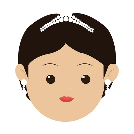 hair ornament: flat design face of caucasian woman wearing hair ornament vector illustration