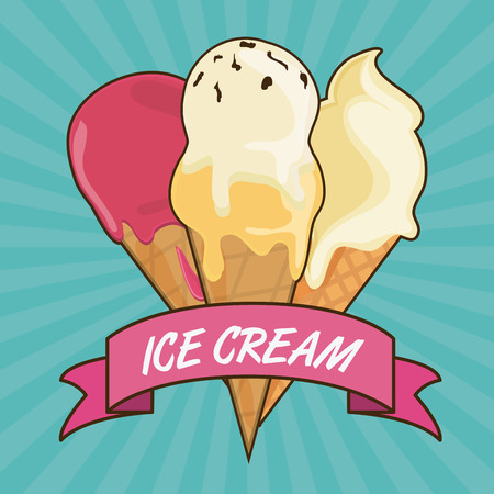 creme: Dessert concept represented by vintage ice cream with ribbon icon. Colorfull and flat illustration
