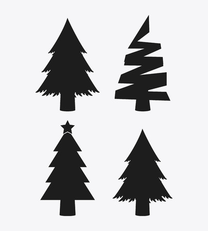 pine trees: Merry Christmas concept represented by icon set of shilhouette pine trees. isolated and flat background Illustration