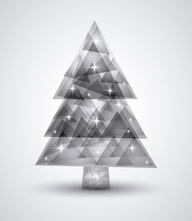 christmas concept: Merry Christmas concept represented by polygonal pine tree icon. isolated and flat background