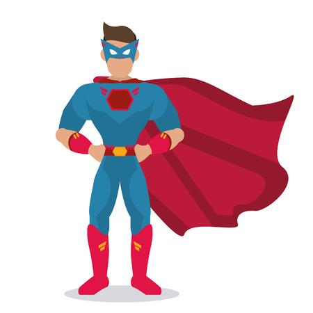 Superhero notion représentée par dessin animé mâle avec déguisement. Colorfull, isolé et illustration plat