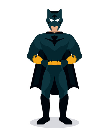 disguise: Superhero concept represented by male cartoon with disguise. Colorfull, isolated and flat illustration