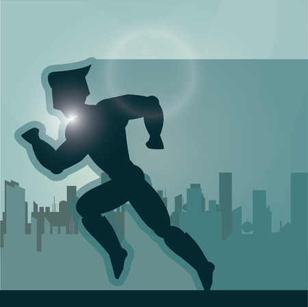 disguise: Superhero concept represented by male cartoon with disguise over city design. Colorfull and flat illustration