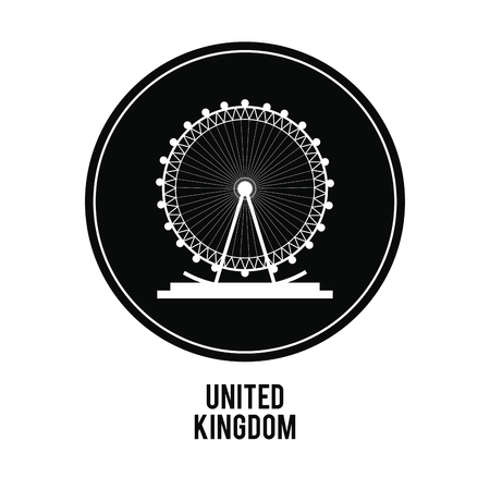london eye: United kingdom concept represented by london eye over black circle icon. isolated and flat illustration