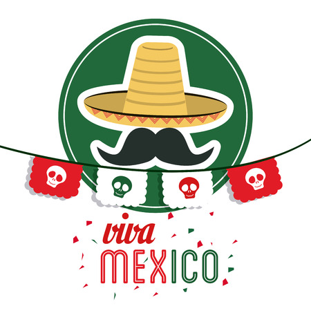 mexico culture: Mexico culture concept represented by hat with mustache icon. Colorfull and flat illustration Illustration