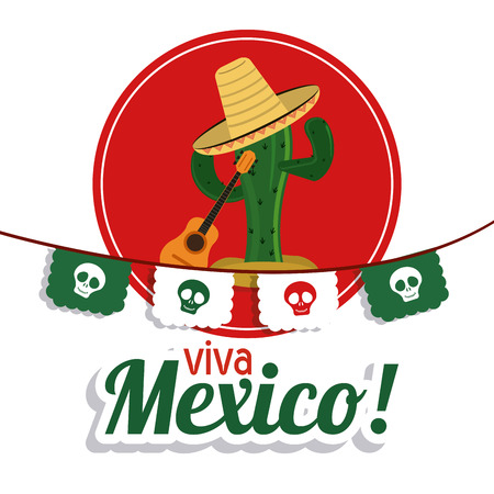 mexico culture: Mexico culture concept represented by cactus with hat and guitar over seal stamp. Colorfull and flat illustration