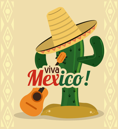 Mexico culture concept represented by cactus with hat and guitar icon. Colorfull and flat illustration
