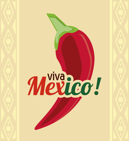 mexico culture: Mexico culture concept represented by pepper icon. Colorfull and flat illustration