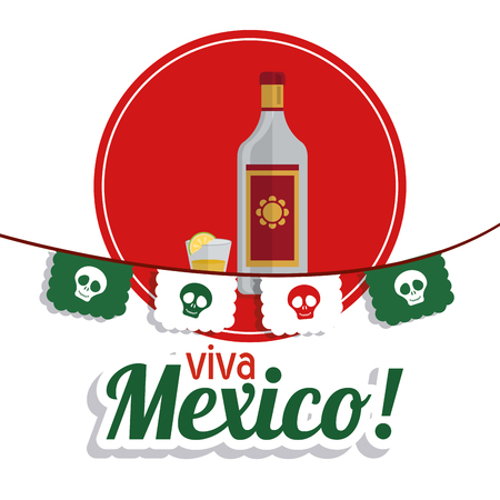 mexico culture: Mexico culture concept represented by tequila over seal stamp icon. Colorfull and flat background