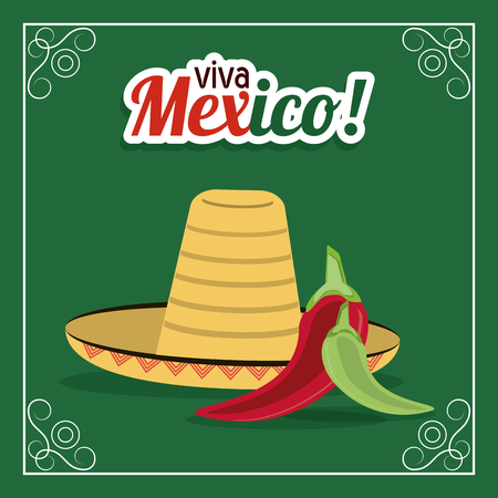 mexico culture: Mexico culture concept represented by hat and pepper over frame icon. Colorfull and flat illustration. Green background