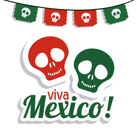 mexico culture: Mexico culture concept represented by skull icon. Colorfull and flat illustration