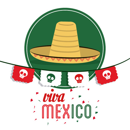 mexico culture: Mexico culture concept represented by hat over seal stamp icon. Colorfull and flat illustration