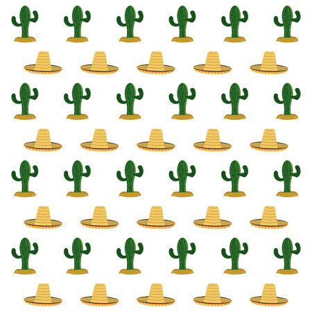 mexico culture: Mexico culture concept represented by hat and cactus background. Colorfull and flat illustration