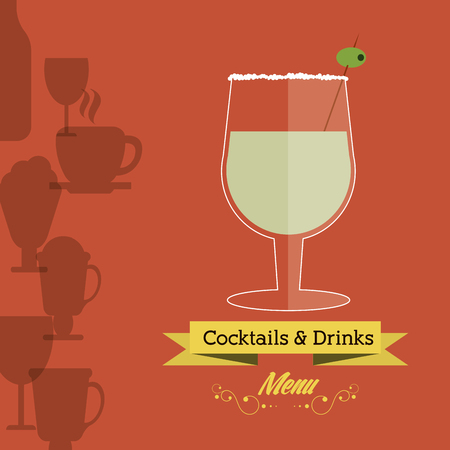 cocktail glasses: Drink and beverage concept represented by cocktail glass with ribbon icon. Background of glasses icon set. Colorfull and flat illustration Illustration