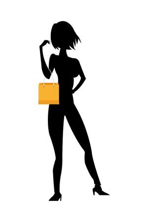woman holding bag: flat design black silhouette thin woman holding yellow shopping bag vector illustration