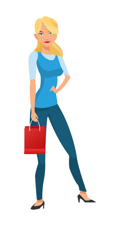 woman holding bag: flat design thin blonde woman holding red shopping bag vector illustration Illustration