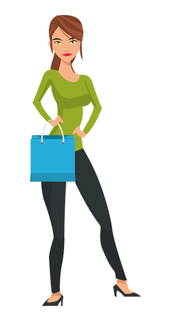 woman holding bag: flat design thin brunette woman holding blue shopping bag vector illustration Illustration