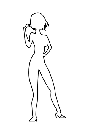 full body woman: simple black line full body woman standing icon vector illustration