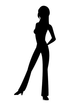 full body woman: black silhouette flat design full body woman standing icon vector illustration