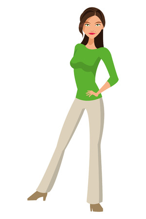 full body woman: flat design full body woman standing icon vector illustration