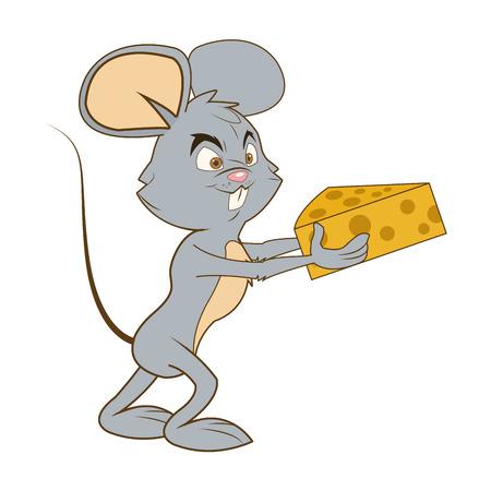 gnawer: flat design full body mouse cartoon holding cheese vector illustration