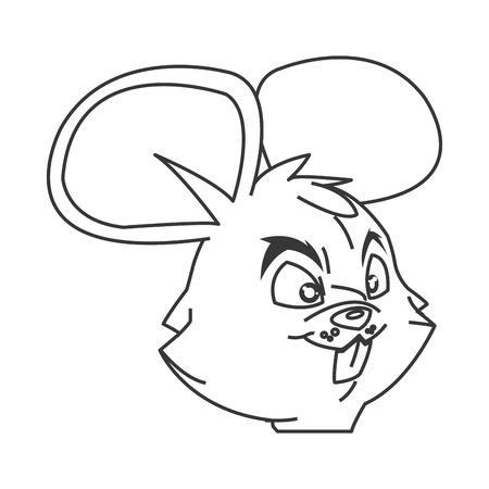gnawer: black line flat design mouse cartoon vector illustration