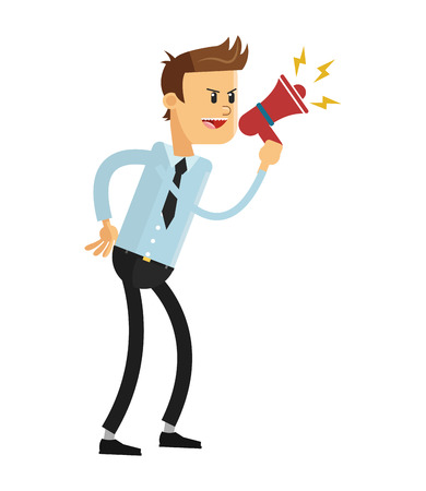 illustration isolated: flat design business man with megaphone icon vector illustration