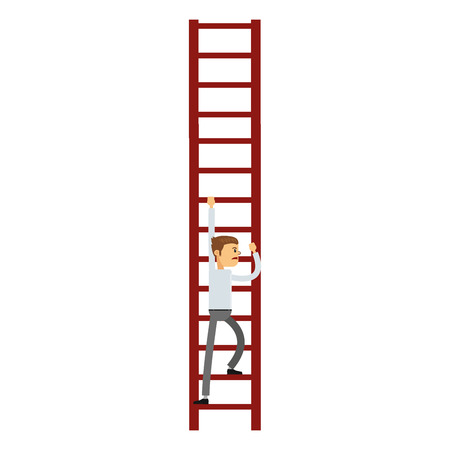 job opportunity: flat design businessman climbing the ladder icon vector illustration