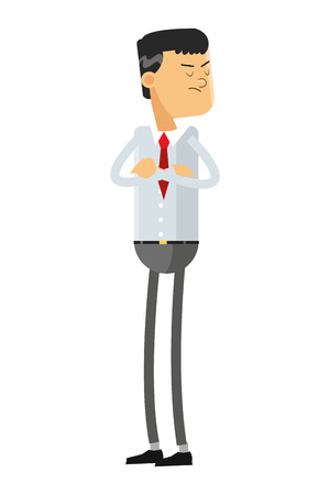 angry businessman: flat design angry businessman with arms crossed icon vector illustration
