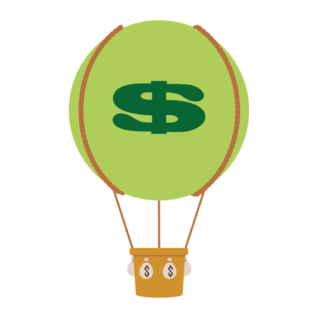 blow up: simple flat design hot air balloon with dollar sign icon vector illustration