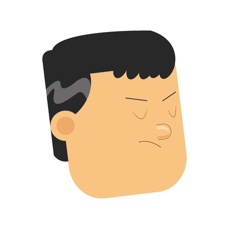 disappointed: flat design face of disappointed man icon vector illustration