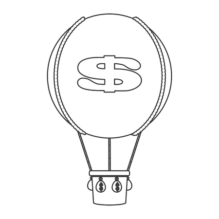 blimp: simple black line hot air balloon with dollar sign icon vector illustration
