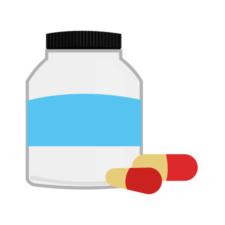 doses: simple flat design bottle with pills icon vector illustration Illustration