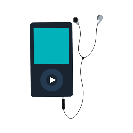 portable: simple flat design portable music device with earphones vector illustration