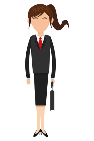 ponytail: flat design business woman with ponytail icon vector illustration