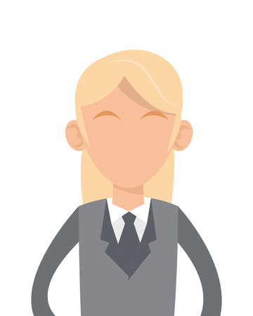 grey hair: flat design business woman with grey suit and blonde hair icon vector illustration