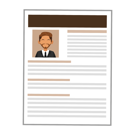job opportunity: simple flat design man brown curriculum vitae icon vector illustration Illustration