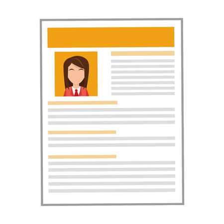 job opportunity: simple flat design yellow woman curriculum vitae icon vector illustration