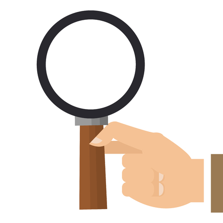 scrutinize: simple flat design hand holding magnifying glass vector illustration