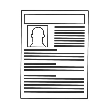 job opportunity: simple black line curriculum vitae icon vector illustration