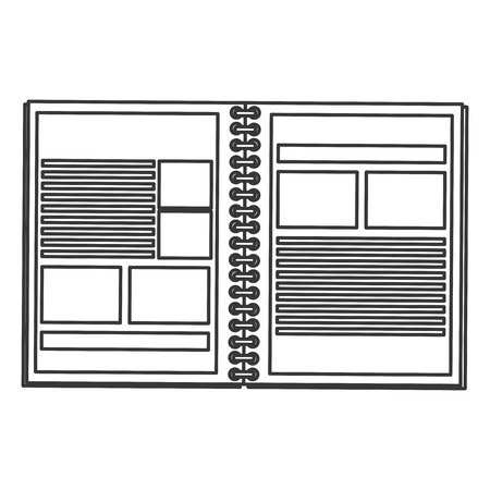 wired: simple black line open wired notebook icon vector illustration Illustration