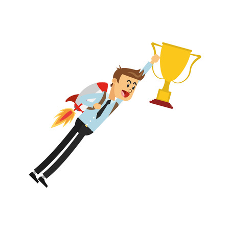 jetpack: simple flat design flying businessman with jetpack holding trophy cup icon vector illustration Illustration