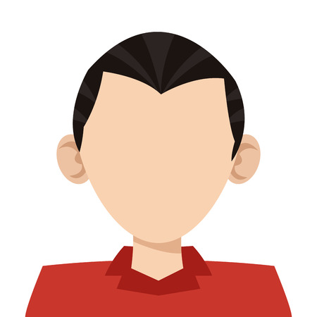 caucasian man: simple flat design head of caucasian man icon vector illustration