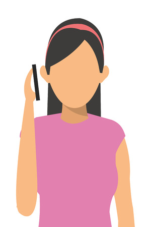 woman cellphone: simple flat design woman on the cellphone icon vector illustration
