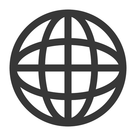 meridians: simple flat design earth globe diagram with latitudes and meridians icon