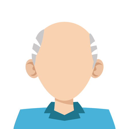 grey hair: simple flat design head of man with grey hair icon vector illustration Illustration