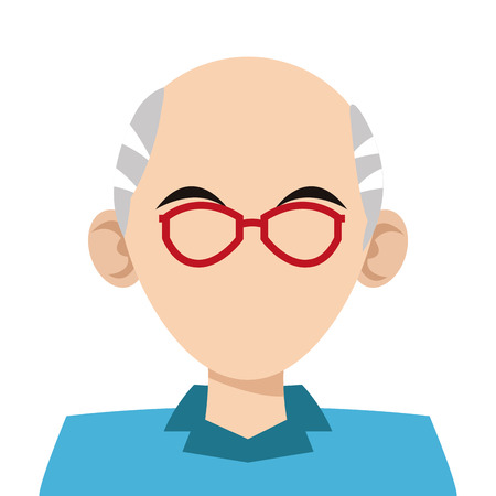 grey hair: simple flat design head of man with grey hair and red frame glasses icon vector illustration Illustration