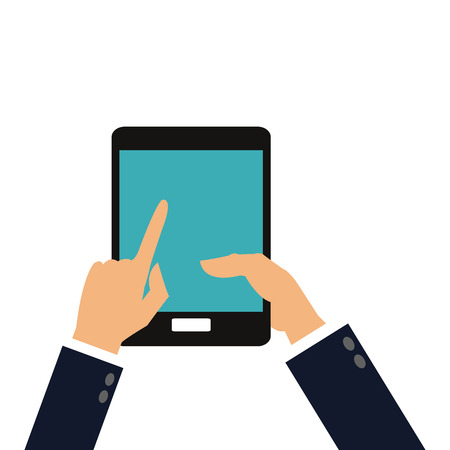 cellphone icon: simple flat design hands holding cellphone icon vector illustration Illustration
