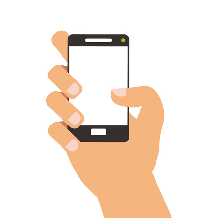 cellphone icon: simple flat design hand holding cellphone icon vector illustration Illustration